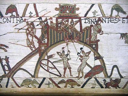 Siège d'une motte féodale au XIe siècle : détail de la Tapisserie de Bayeux (source : Wikipédia)