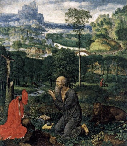 "Simon BENING, ""St Jérôme pénitent"", 1515-20, Monasterio de San Lorenzo, El Escorial (source : WGA)"