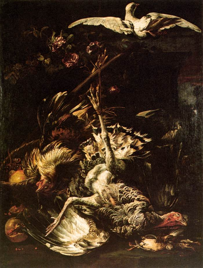 Baldassare de Caro, Nature morte avec pigeon, dindon et fruits, Pinacoteca d'Errico, Matera, s.d. (source : wga)