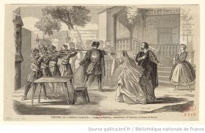 Théâtre de l'ambigu-comique. Compère Guillery, mélodrame ; 4e tableau, la ferme du Ravin : [estampe] (source : gallica)