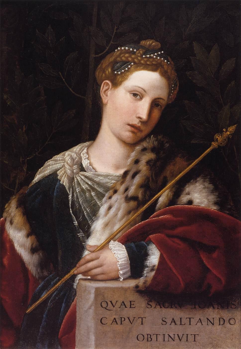 Portrait de Tullia d'Aragona en Salomé, Pinacoteca Tosio Martinengo, Brescia, 1537 (source : wga).