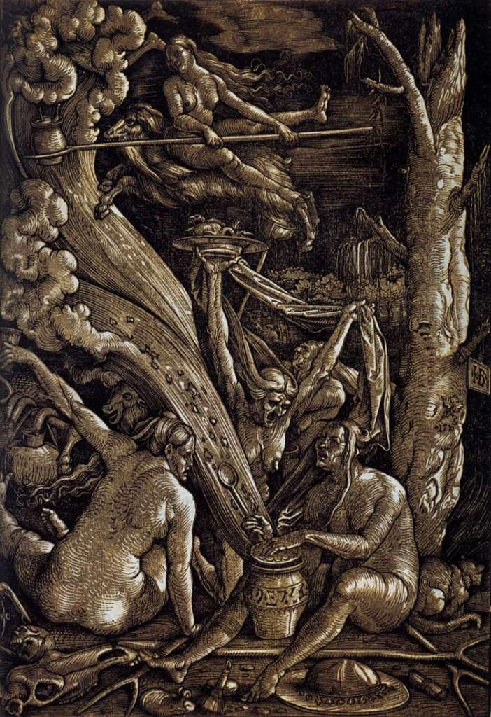"Hans Baldung Grien, ""Le Sabbat des sorcières"", 1510, Nationalmuseum, Nuremberg (source: WGA)."