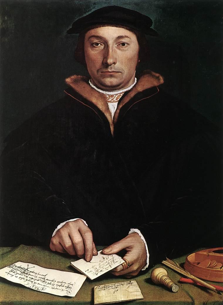"""Hans Holbein, """"Portrait de Dirk Tybis"""", 1533, Kunsthistorisches Museum, Vienne (source : wga)"""