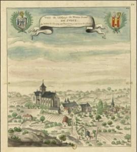 """Louis Boudan (?), """"Veüe de l'Abbaye de Nostre Dame de Sully, de l'ordre de Clugny, en Touraine, a une lieue de Chinon"""", 1699 (source : Gallica)"""