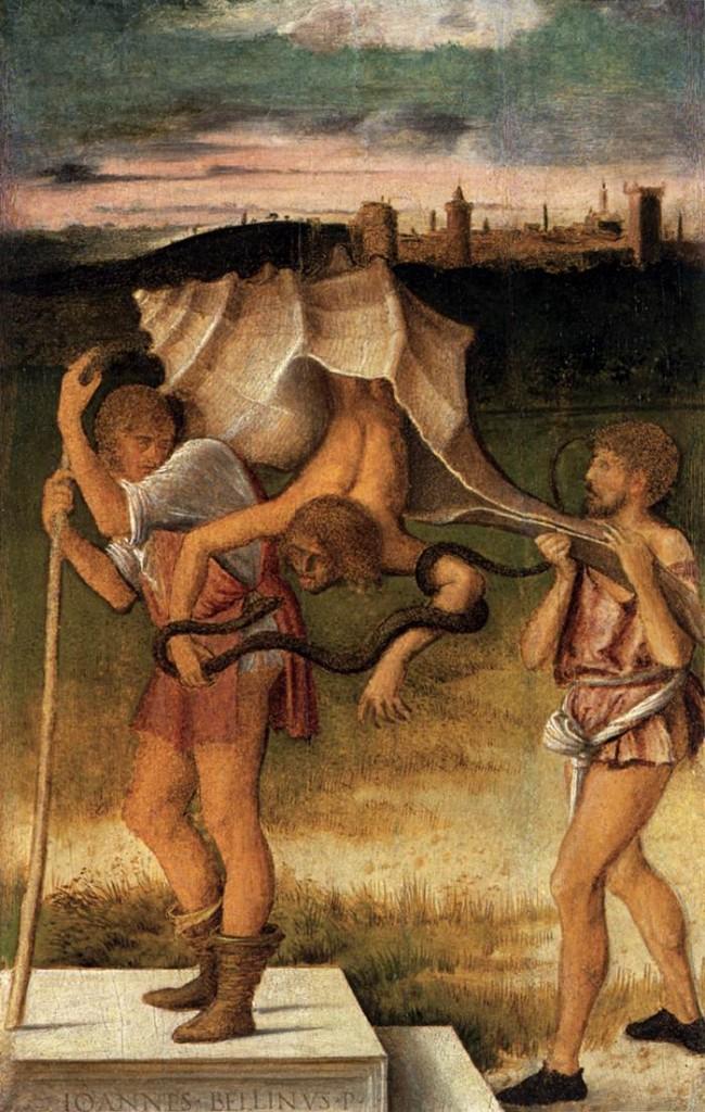 """Giovanni BELLINI, """"Quatre allegories : Mensonge (ou Sagesse)"""", détail, c. 1490, Gallerie dell'Accademia, Venise (source : WGA)."""
