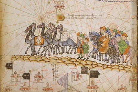 Caravane sur la Route de la Soie, Atlas catalan, XIVe s. (source : Wikipedia)