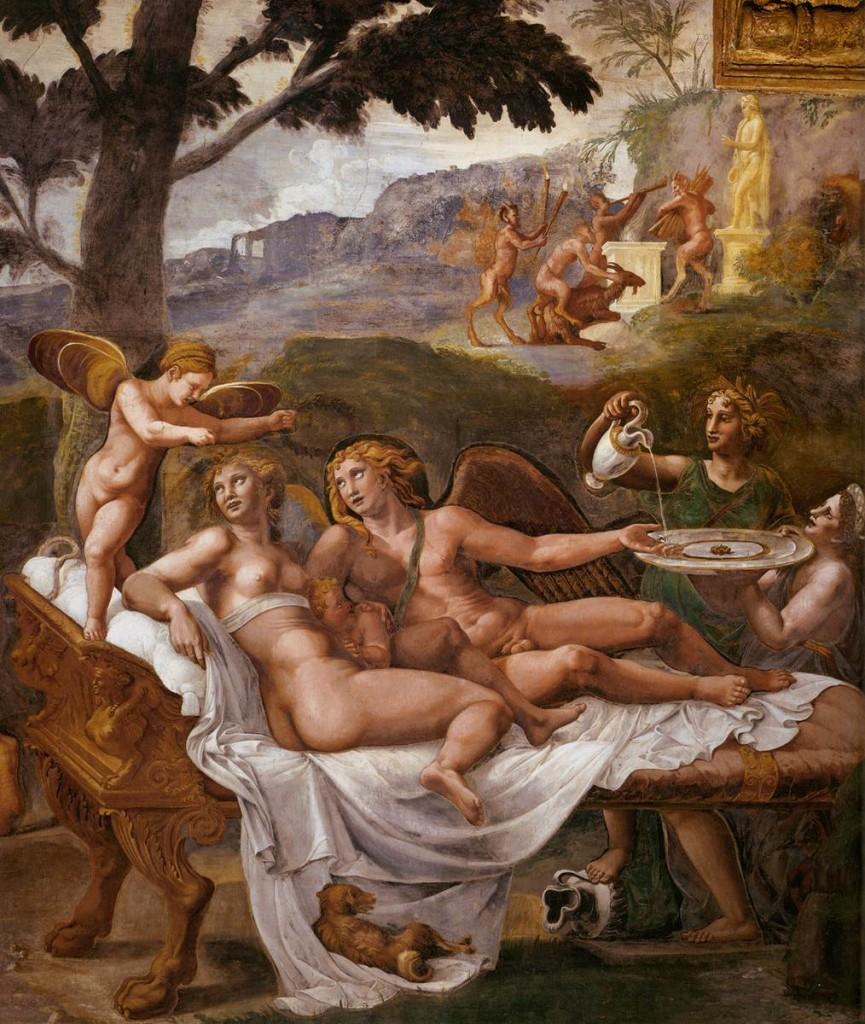 """GIULIO ROMANO, """"Psyché et Cupidon"""", 1526-28, Fresco Sala di Psiche, Palazzo del Tè, Mantua (source : WGA)"""