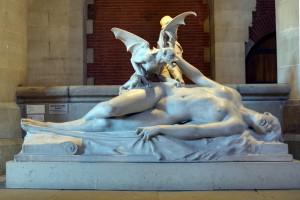 """Eugène Thivier, """"Le cauchemar"""", Sculpture, Marbre, 215 x 133 x 71, Mudée des Augustins, Toulouse (source : wikimedia commons)"""