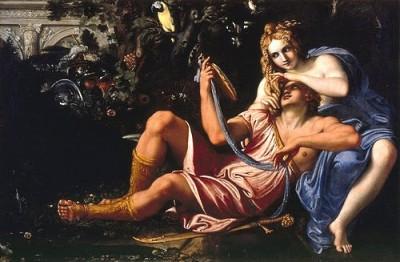 """Annibale Carracci, """"Renaud et Armide"""", v. 1601, Naples, Musée de Capodimonte (domaine public)."""