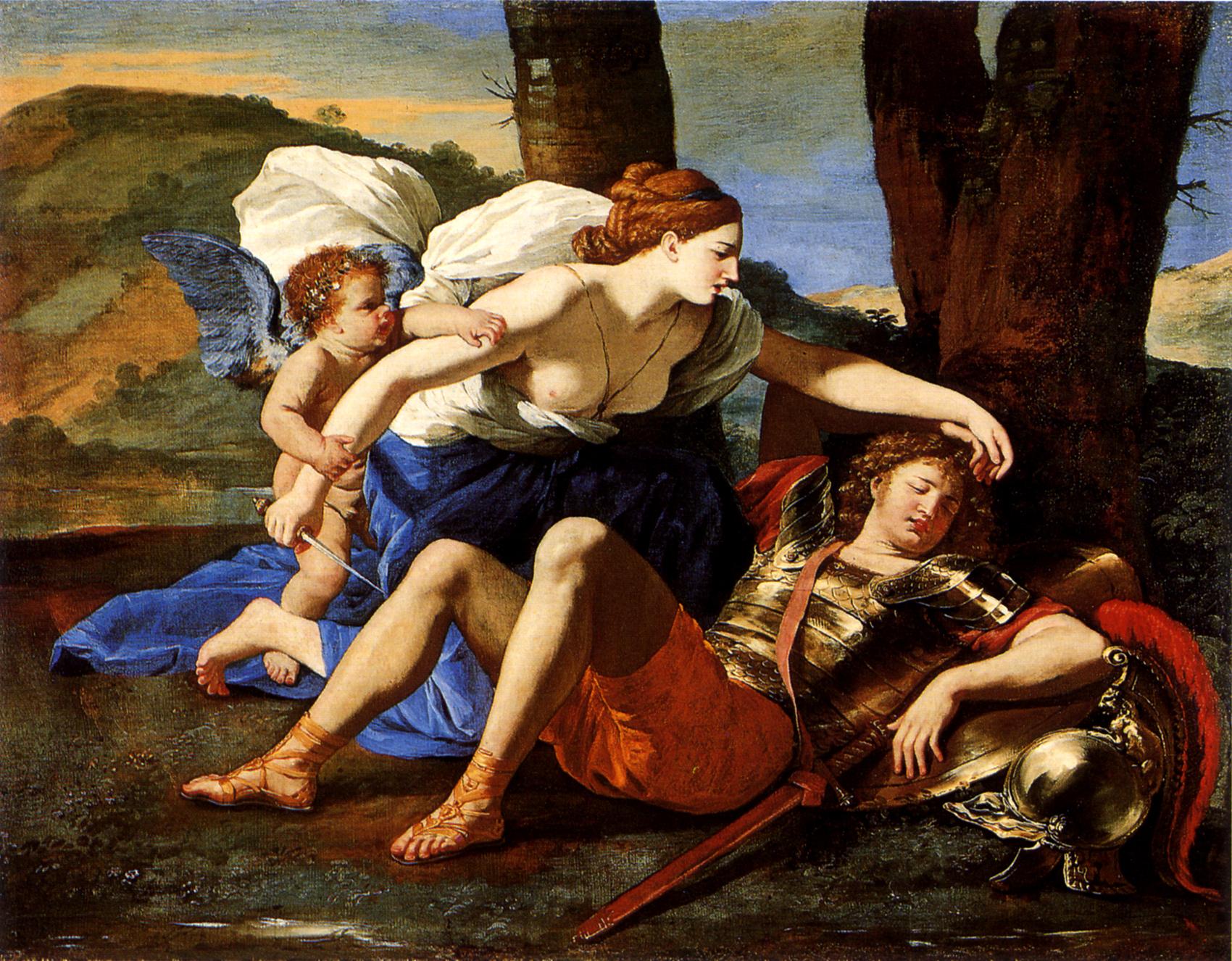 """Nicolas POUSSIN, """"Armide et Renaud"""", 1629. (Photo Aiwaz via Wikimedia Commons, domaine public)."""