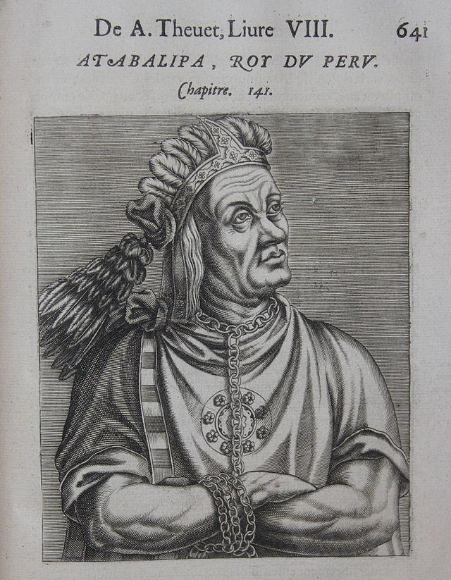 """Gravure représentant le roi du Pérou Atahualpa dans """"Pourtraits et Vies des Hommes Illustres"""" d'André Thévet, Paris, 1584 (source : Lombards Library, Wikimedia Commons)"""