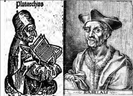 Plutarque in Hartmann Schedel, Liber Chronicarum, éd. A. Koberger, Nuremberg, 1493 & François Rabelais in Gargantua, éd. François Juste, Lyon, 1542 (source : Gallica).
