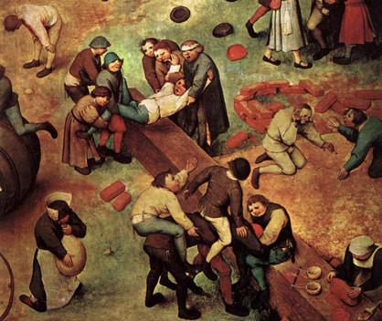 """Pieter BRUEGEL l'Ancien, """"Jeux d'enfants"""", détail, 1559-60, Kunsthistorisches Museum, Vienne (source : WGA)."""