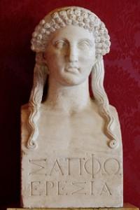 Buste de Sappho, copie romaine d'après un original grec du Ve siècle, Musée du Capitole (source: wikipédia)