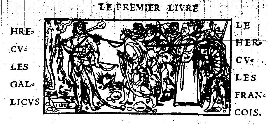 """La gravure de l'""""Hercule François"""" du Champ Fleury de Geofroy Tory, Paris, Gourmont, 1529 (source : Gallica, http://gallica.bnf.fr/ark:/12148/bpt6k50961p/f22.image.r=champ+fleury.langFR)"""