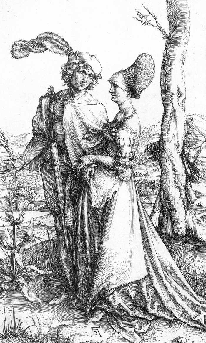 "Albrecht DÜRER, ""Jeune couple menacé par la Mort"" ou ""La Promenade"", (vers 1498), Karlsruhe, Staatliche Kunsthalle (source : WGA)."