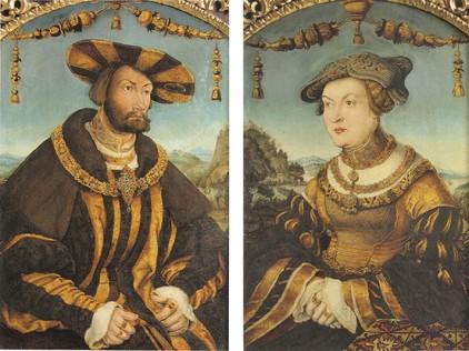 """Hans Wertinger, """"Portraits du duc Wilhelm IV de Bavière et de Maria Jacobäa de Bade"""", 1526, 68 x 45 et 69 x 45 cm, Munich, Alte Pinakothek © DR"""