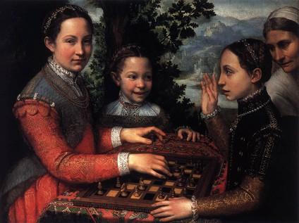 """Sofonisba ANGUISSOLA, """"Portrait de la soeur de l'artiste jouant aux échecs"""", (1555), Poznan, Muzeum Narodowe (source : WGA)"""