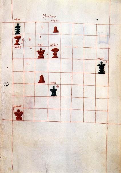 """Miniaturiste italien, """"Jeu d'échecs"""", (années 1450), manuscrit de la Biblioteca Nazionale Reale de Turin (source : WGA)."""