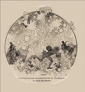 """Illustration d'Albert Robida, """"Le dégel des paroles"""". Les fantaisies scientifiques de Rabelais, cinquième partie - La science illustrée n°370 - décembre 1894 (source : Denis Blaizot, Picasa)."""