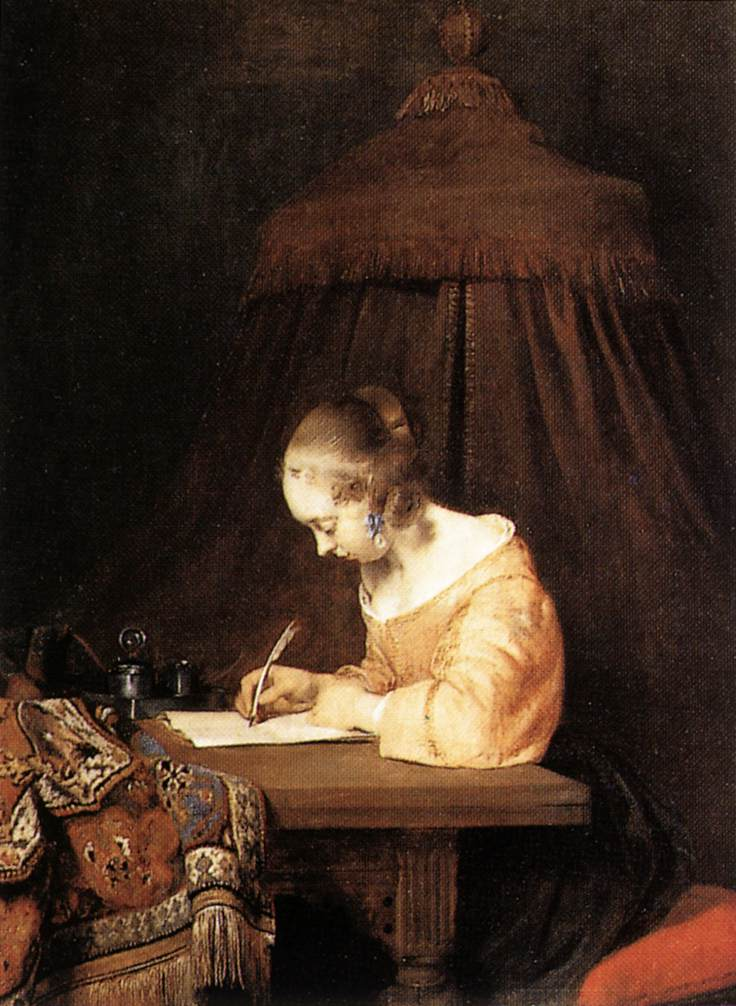 Gerard TERBORCH, Femme écrivant une lettre, vers 1655, Mauritshuis, La Hague (source : WGA)