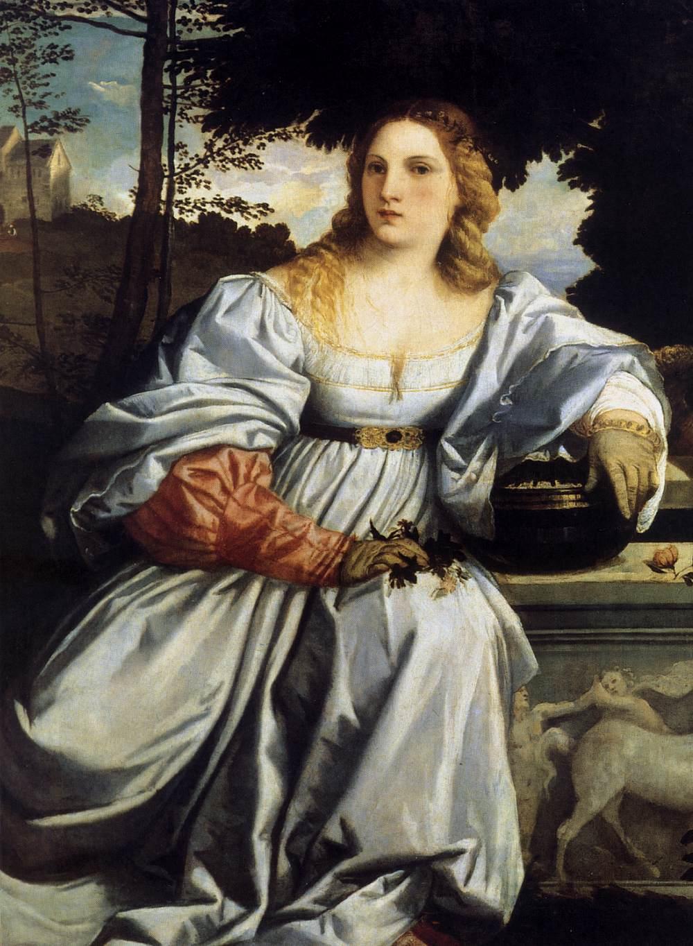 """Vecellio TIZIANO, """"Amour sacré et Amour profane (détail)"""", (1514), Rome, Galleria Borghese (source : WGA)."""