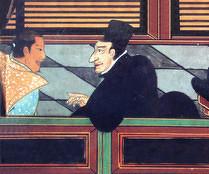 Luís Fróis à droite discutant avec Oda Nobunaga (source : wikipedia)