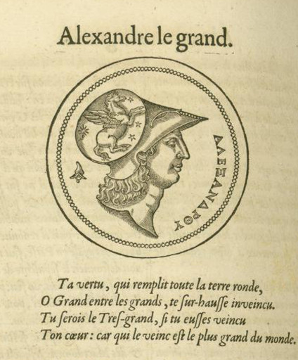 "Plutarque, ""Les Vies des hommes illustres"", trad. J. Amyot, [Genève], 1583, « Vie d'Alexandre », f° 434 v."