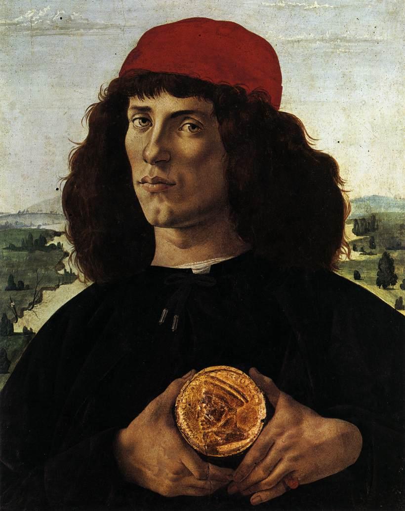 """Sandro BOTTICELLI, """"Portrait d'un homme montrant une médaille de Côme l'Ancien"""", (vers 1474), Florence, Musée des Offices (source : WGA)"""