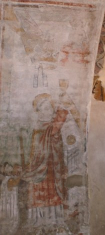 "Atelier Serra, ""Messe de saint Grégoire"", (1466), fresque, 0, 70 x 1, 85 m., Avigliana, San Pietro in Folonia, 3° chapelle Nord, arcade (photographie de Marianne Gilly-Argoud)."