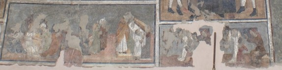 atelier-serra-saints-annonciation-confession-communion-vers-1490-6-35-x-2-75-m-fresque-jouvenceaux-sant-antonio-extérieur-mur-nord-photographie-de-marianne-gilly-argoud