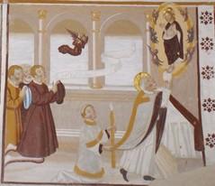 """Maître dit d'Horres-Plampinet, """"Messe de saint Grégoire"""", (vers 1530), fresque, 1, 15 x 1 m., Horres, Sant'Andrea, mur Nord (photographie de Marianne Gilly-Argoud)."""