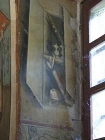 Maître jacquérien, armoire liturgique, (1420-1450), 0, 35 x 0, 80 m, fresque, Rivalta, Santi Vittore e Corona, abside, baie Sud (photographie de Marianne Gilly-Argoud).