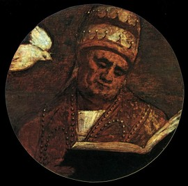 """Vecellio TIZIANO, """"Saint Grégoire le Grand"""", (s. d.), Venise, Santa Maria della Salute (source : WGA)."""