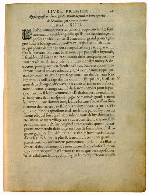 """Montaigne, Les Essais, Abel L'Angelier, 1588, exemplaire annoté de la main de l'auteur, dit """"Exemplaire de Bordeaux"""" (source : http://cgi.stanford.edu/~dept-fren-ital/rbp/?q=node/345)"""
