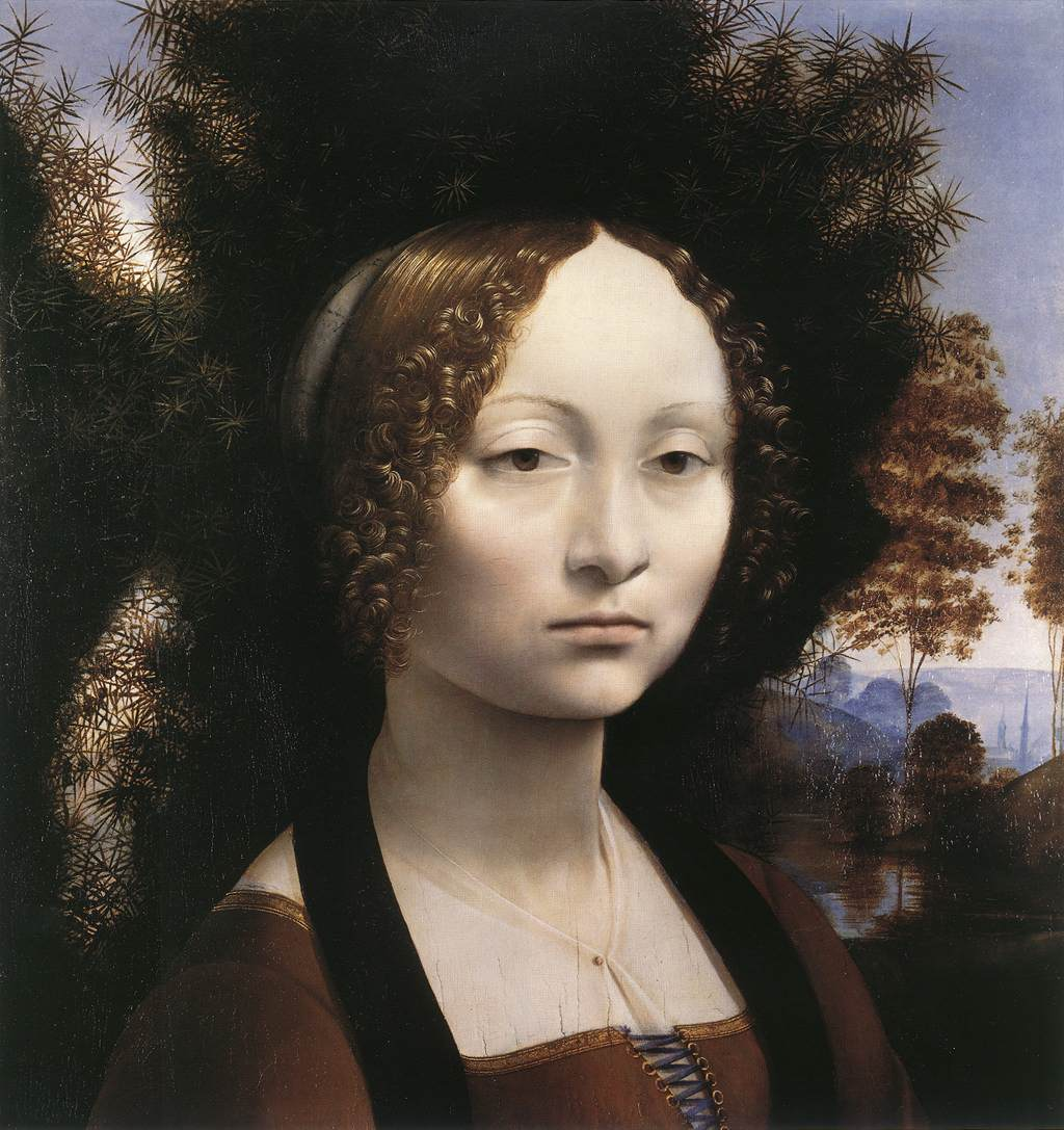 Léonard de Vinci, Portrait de Ginevra de' Benci, National Gallery of Art, Washington, 1474-78 (source : wga)