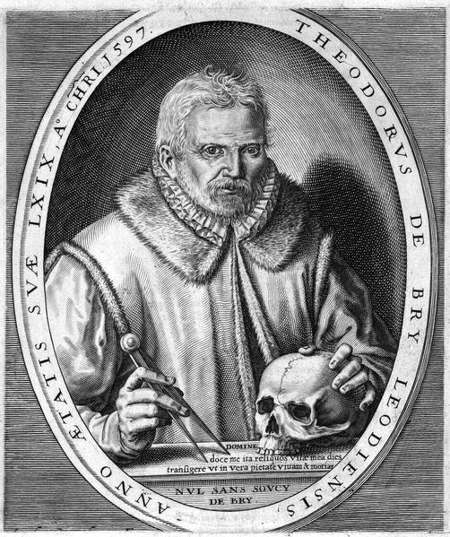 """""""Portrait de Théodore de Bry"""", (1597), Bibliothèque Royale des Pays-Bas (source : wikipedia)"""