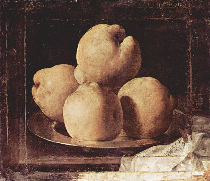 Francisco de Zurbaran, Nature morte (coings), Museo Nacional de Arte de Cataluna, entre 1633 et 1664 (source : wikipedia)