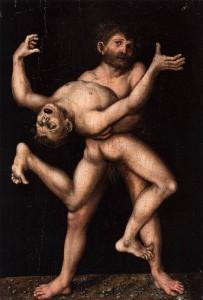 """Lucas CRANACH, """"Hercule et Antée"""", vers 1530, Collection privée (WGA)"""