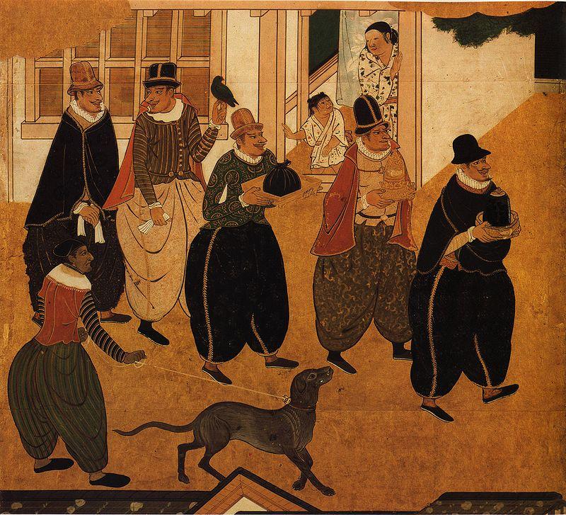 """Art namban (""""barbares des mers du Sud""""): panneaux attribués à Kano Domi, entre 1593 et 1600 (détail) (source: wikimedia commons)"""