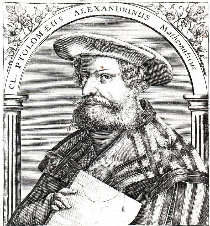 Ptolémée d'après une gravure allemande du XVIe siècle. Source : wikipedia