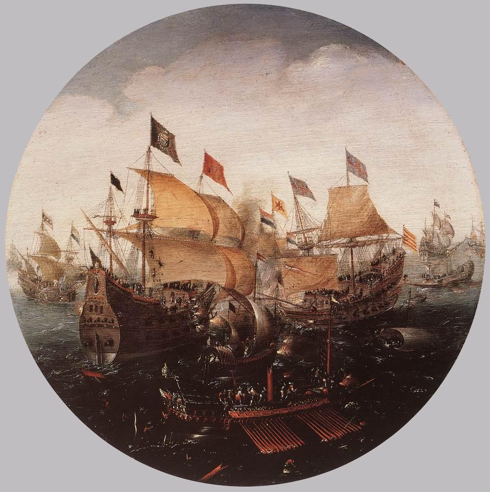 ANTHONISZ, Aert, Bataille navale entre Hollandas et Espagnols, 1604 Huile sur panneau, diamètre 22,4 cm Staatliche Museen, Berlin