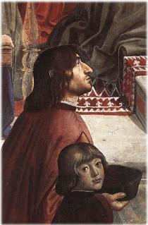 Domenico Ghirlandaio - Angelo Poliziano e Giuliano de' Medici, Cappella Sassetti (source: Wikipedia)