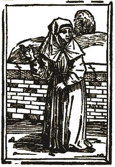 Gravure anonyme, Une béguine, tirée du Des dodes dantz, Lübeck, 1489 (source : wikipedia)
