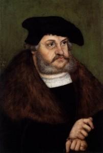 """Lucas CRANACH l'Ancien, """"Portrait de Frédéric III de Saxe âgé"""", (1527), Hessisches Landesmuseum, Darmstadt (source : Web Gallery of Arts)."""