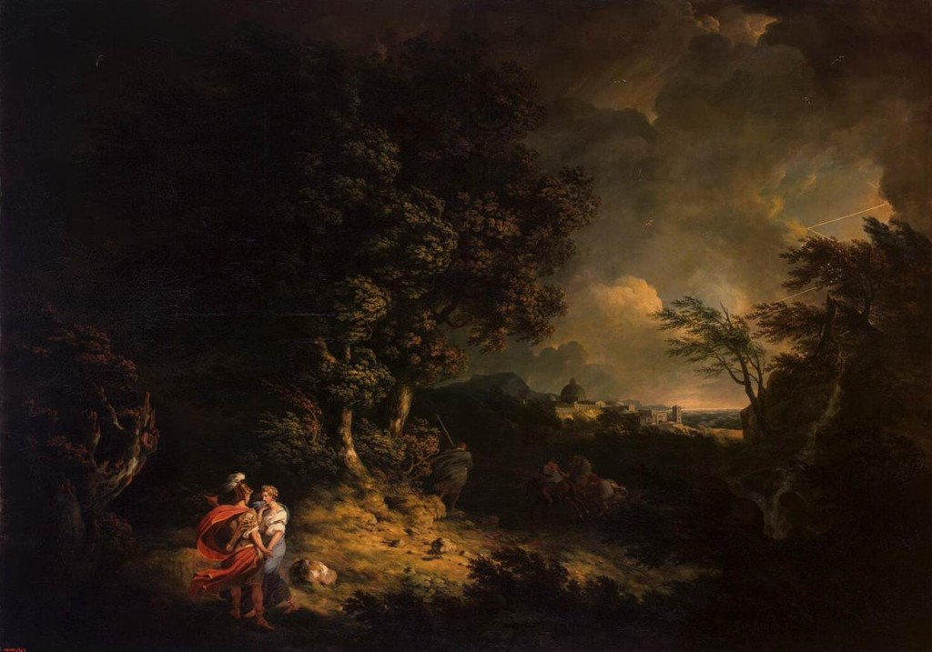 "Thomas JONES, ""Paysage avec Énée et Didon"" (1769), Saint-Petersbourg, Ermitage (WGA)."