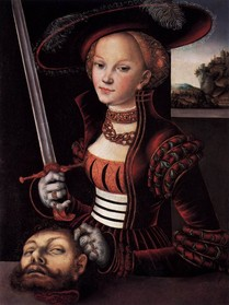 "Lucas CRANACH l'Ancien, ""Judith victorieuse"", (vers 1530), Jagdschloss Grunewald, Berlin (source : Web Gallery of Arts)."
