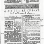 , la KJV (bible du roi Jacques : chapitre de l'épître de Paul aux Hébreux) (source : wikipedia)
