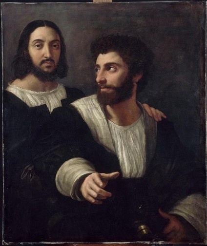 """Raphaël, """"Portrait de l'artiste avec un ami"""", (1518) Paris, Musée du Louvre (source : Web Gallery of Arts). Raphaël, """"Portrait de l'artiste avec un ami"""", (1518) Paris, Musée du Louvre (WGA)."""
