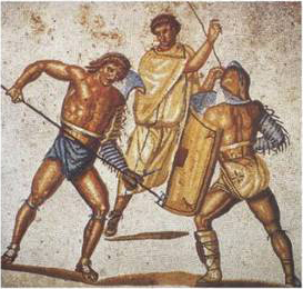 Un rétiaire et un secutor, villa de Nennig, IIe-IIIe siècle (source : wikipedia)